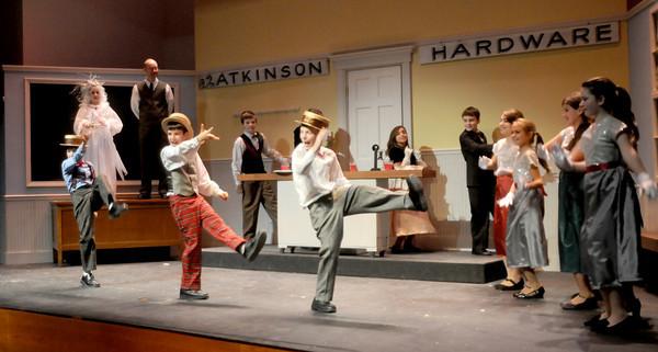 "Newbury:Actors  dress rehearsal at the Newbury Elementary School for ""The Woodbridge Carol,"" a play that blends ""A Christmas Carol"" and Newbury's 375th anniversary this year. Jim Vaiknoras/Staff photo"