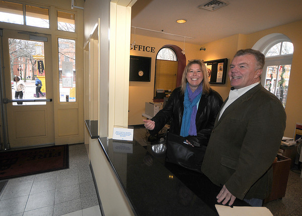 Newburyport: Designer  Jivonne Alley and Bob Connors stand in the almost finished box office at the Firehouse in Newburyport. Jim Vaiknoras/Staff photo