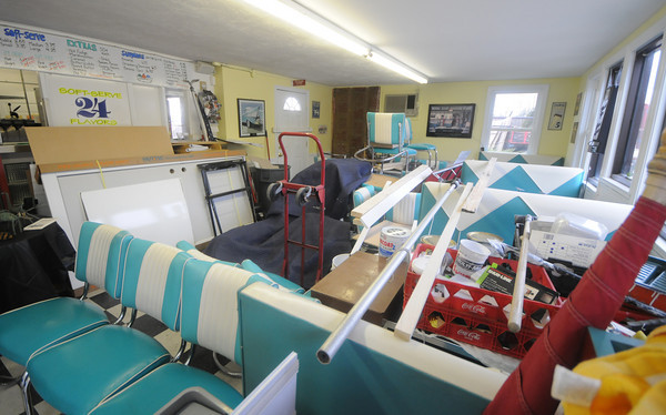 Newburyport: Renovation have begun on Haley's Ice Cream , converting part of the store into a coffee house. Jim Vaiknoras/Staff photo
