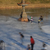 Newburyport: Skaters enjoy the frozen Frog Pond at teh Bartlett Mall in Newburyport on a cold bright Saturday afternoon.