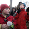 Newbury: Max Russell, 6, and his brother Alexander, 8, enjoy hot cocoa and cookies at the annual tree lighting on the Upper Green in Newbury Sunday afternoon. Jim Vaiknoras/Staff photo