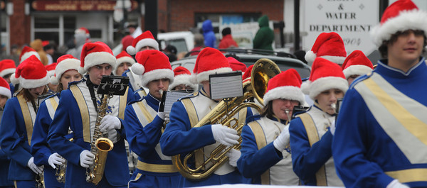 Merrimac: The Georgetown High school band marches in the annual Merrimac Santa Parade. Jim Vaiknoras/Staff photo