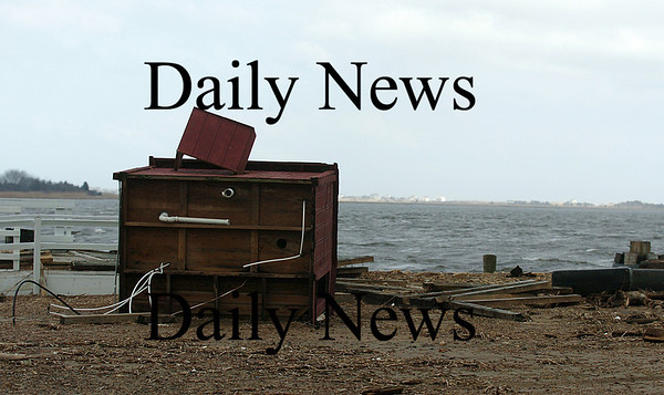 Newburyport: A small shed at Harbor Marina in Newburyport was blown over during Thursday night's storm that pounded the area. Photo by Ben Laing/Staff Photo