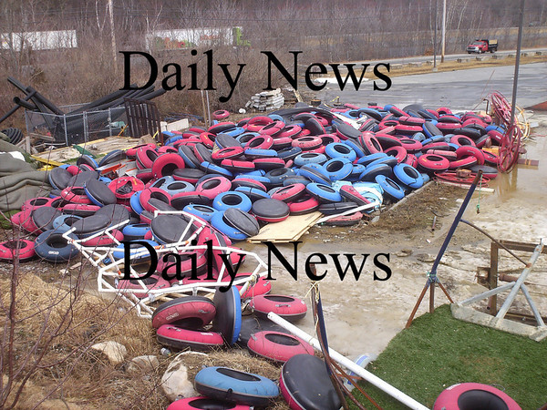 Amesbury: The tube barn at Amesbury Sports Park was destroyed during Thursday night's storm, spilling tubes all over the property. Courtesy Photo