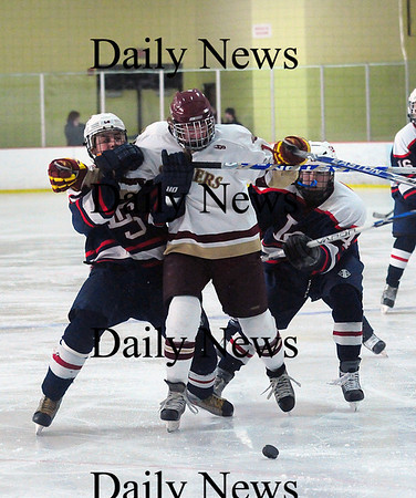 Newburyport: Newburyport senior, Sean Hickman (10) fights through two Lincoln-Sudbury defenders during the Clippers 3-0 victory Thursday afternoon. Photo by Ben Laing/Staff Photo