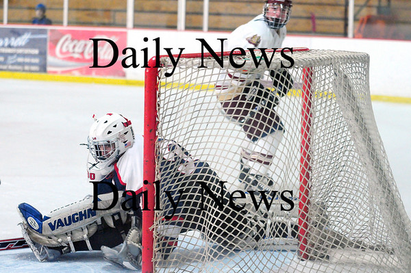 Newburyport: Lincoln-Sudbury goalie John Burke (30) watches a shot from Newburyport's Kyle McElroy sail just past his goal during the Clippers 3-0 victory Thursday afternoon. Photo by Ben Laing/Staff Photo