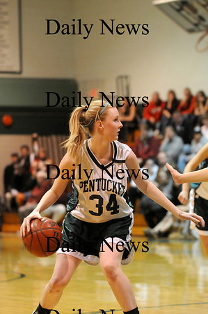 West Newbury: Vanessa Cahill (34) of Pentucket scans the court during Monday night's game against North Andover. Photo by Ben Laing/Staff Photo