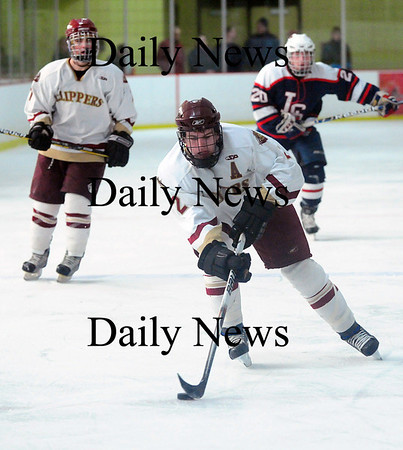 Newburyport: Newburyport's Billy Boudreau (2) races into the offensive zone during the Clippers 3-0 victory over Lincoln-Sudbury Thursday afternoon. Photo by Ben Laing/Staff Photo