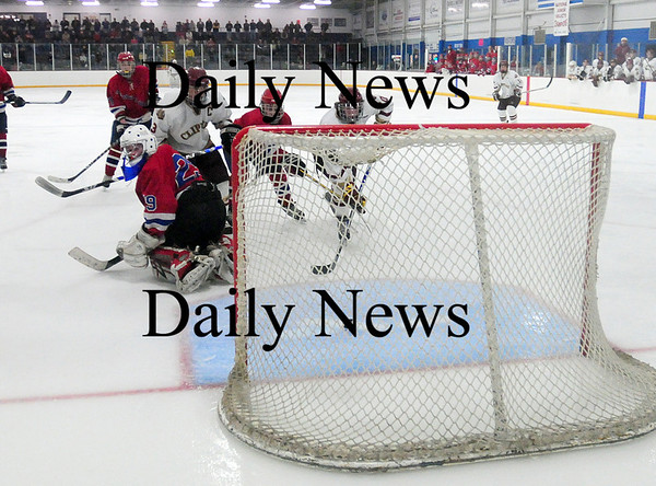 Stoneham: Newburyport's Sean Hickman (10) nets his second goal of the night as he taps a loose puck in to the net as the Clippers skated to a 6-2 win over Tewksbury. Photo by Ben Laing/Staff Photo