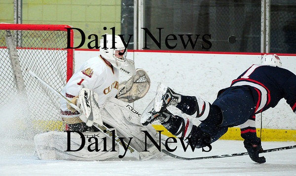 Newburyport: Newburyport goalie Anthony Federico (1) shuts down a break away attempt by Lincoln-Sudbury's Adrien Rousson (7) during the Clipper's 3-0 win Thursday afternoon. Photo by Ben Laing/Staff Photo