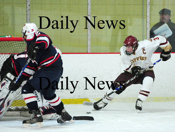 Newburyport: Clipper captain Kyle McElroy (3) drives towards the Lincoln-Sudbury goal during Thrusday's 3-0 victory at the Graf Rink. Photo by Ben Laing/Staff Photo