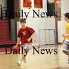 Newburyport: Seventh grader Mike Shea, left, dribbles up the court while sixth grader Danny Baribeault defends him during Wednesday night's practice at Newburyport High School. Both are members of the Newburyport Travel team program, which is having an overall outstanding season. Photo by Ben Laing/Staff Photo