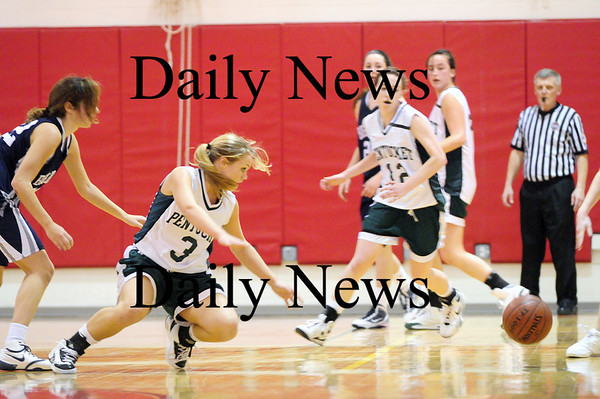Amesbury: Emily Lane (3) of Pentucket dives for a loose ball during the Sachems 69-49 win over Swampscott on Friday. Photo by Ben Laing/Staff Photo
