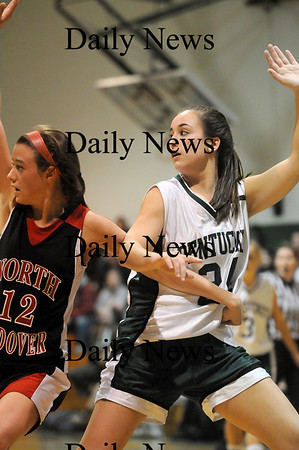 West Newbury: Pentucket's Ashley Viselli (24) battles for postition with North Andover's Katelyn Moroney (12) during Monday nights game in West Newbury. Photo by Ben Laing/Staff Photo