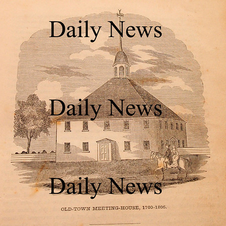 West Newbury: A woodcutting from 1845 Coffin's History of Newbury showing the third meetinghouse of Old Town which was on the site of the cemetery across from the First Parish Church on High Road. Bryan Eaton/Staff Photo