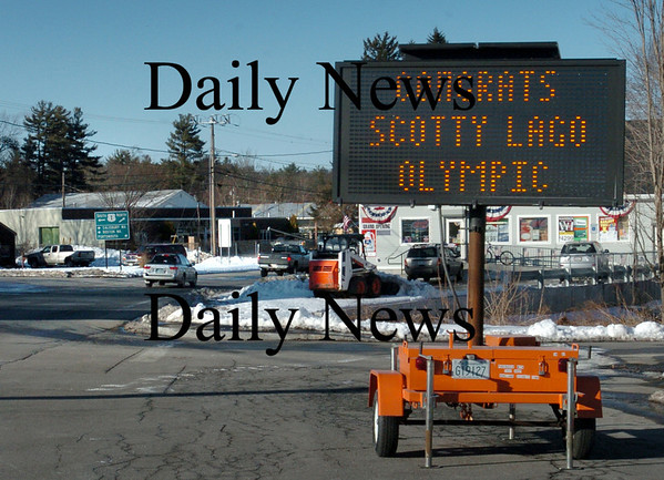 Seabrook: A sign entering Seabrook on Route One from Salisbury celebrates native son Scotty Lago's Olympic bronze medal in snowboarding. Bryan Eaton/Staff Photo