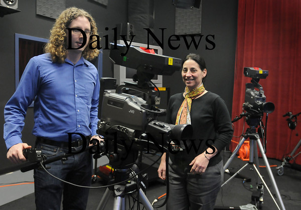 Newburyport: Sarah Hayden, right, with director of operations, Chris Miller, takes over as director of Port Media. Bryan Eaton/Staff Photo