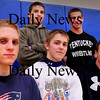 Byfield: All state wrestlers, front, from left, Dan Chandler, Colton Blanchette and Austin Perreault. Back, Dean Demeroff, left, and Dan Dragon. Bryan Eaton/Staff Photo
