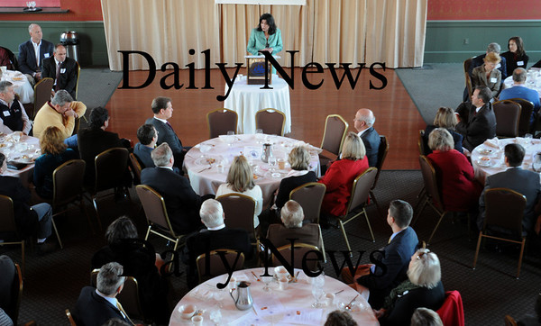 Newburyport: Newburport Mayor Donna Holaday addresses the Greater Newburyport Chamber of Commerce at a breakfast at the Mission Oak Grille yesterday morning. Bryan Eaton/Staff Photo