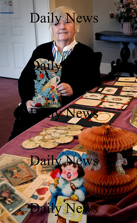 Newburyport: Patsy Brown has been collecting Valentine cards that date back to the 1840's. Bryan Eaton/Staff Photo