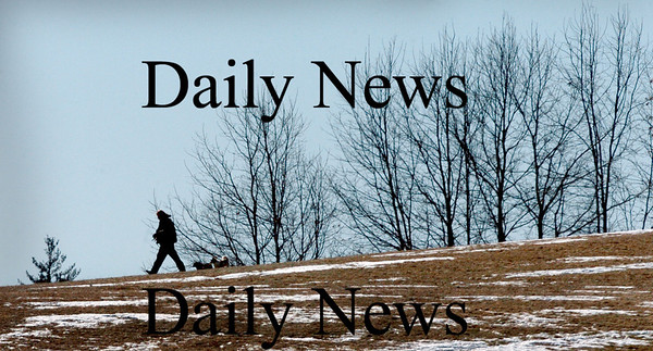 Amesbury: A dog-walker and their charges walk along top of the hill at Woodsom Farm in Amesbury yesterday morning. Trips to the popular spot on Lion's Mouth Road this will like require an umbrella. Bryan Eaton/Staff Photo