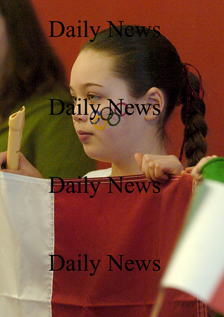 Amesbury: Paria Burrill, 10, representing Italy at the Cashman School Olympic program sported the Olympic rings on her cheek. Bryan Eaton/Staff Photo