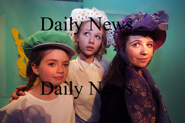 Newburyport:Katherine Hall as Terta, Christina Beck as Prima, and Allegra Larson as Secunda  in Alice in Wonderglass, a new play/adaptation by Marc Clopton at the Actors Studio in Newburyport. Jim Vaiknoras/Staff photo