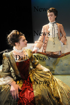 Newburyport: Joe Keery as Valmont, and Nicola Rossi as Merteuil,  in the Newburyport high production of Dangerous Liaisons. Jim Vaiknoras/Staff photo