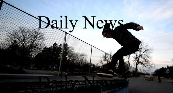 Amesbury: Jordan Butts of Amesbury rides the rail at the Amesbury Skate Board Park late Sunday afternoon. Jim Vaiknoras/Staff photo