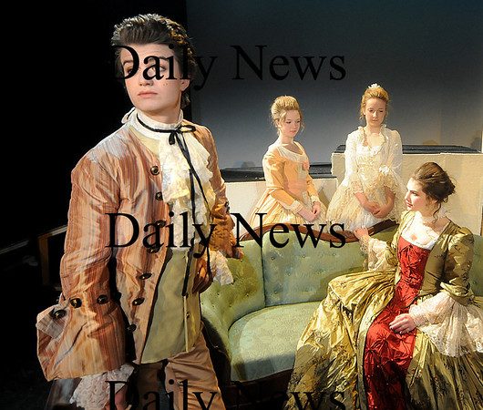 Newburyport: Joe Keery as Valmont, Nicola Rossi, as Merteuil, Shelby Steeves as Tourvel, and Molly Welsh as Volanges  in the Newburyport high production of Dangerous Liaisons. Jim Vaiknoras/Staff photo