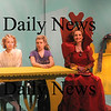 Newburyport:Katherine Hall as Terta, Christina Beck as Prima, Allegra Larson as Secunda and  Kathleen Anderson as the Queen in Alice in Wonderglass, a new play/adaptation by Marc Clopton at the Actors Studio in Newburyport. Jim Vaiknoras/Staff photo