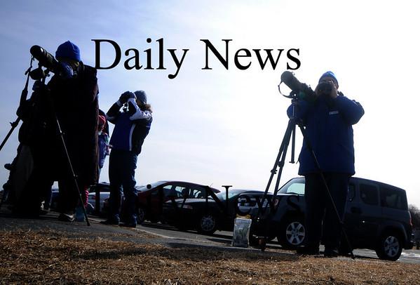 Newburyport: Bird watcher train their scopes on the Merrimack River at Cashman Park  in Newburyport during the annual Eagle Festival Saturday. JIm Vaiknoras/Staff photo
