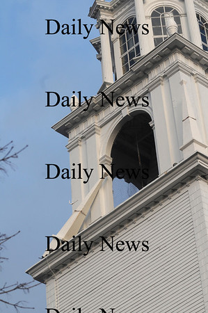 Newburyport: Part of the steeple at the Unitarian Chruch in Newburyport was broken loose by Thursday nights high winds. Jim Vaiknoras/Staff photo