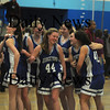 Jamaca Plain: The Georgetown girl basketball team celebrates their victory Thursday night at English High in Jamaca Plain. Jim vaiknoras/Staff photo