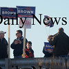 Newburyport: Supporters of senatorial candidate Scott Brown hold signs on the Gillis Bridge during teh Martha Coakley rally at Michael's Harborside in Newburyport. Jim Vaiknoras/Staff photo