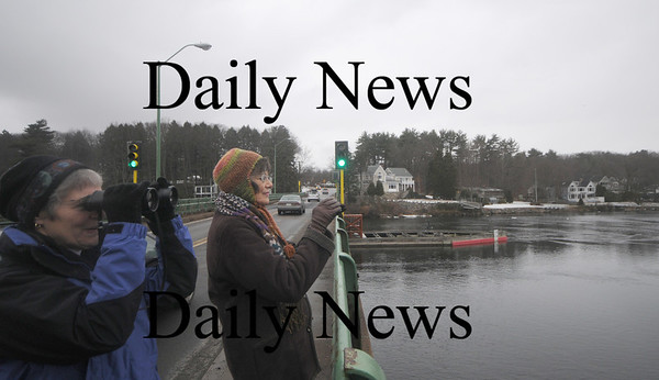 Newburyport: Sherry Moore and Ann McCrea , both of Newburyport, look for eagle off the Derek Hines Bridge Sunday afternoon. The pair were rewarded by spotting a number of the birds as well as a few seals that made their way up river. Jim Vaiknoras/Staff photo