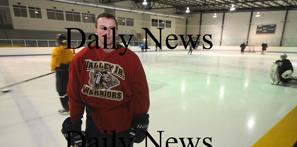 Haverhill: Derek McCoy of Newburyport  with the Junior Valley Warriors at the Valley Forum in Haverhill. McCoy has earned a spot on Division 1 collegiate program UMass Lowell for next season. Jim Vaiknoras/Staff photo