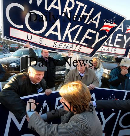 Newburyport:  Supporters of Martha Coakley greet her at Michael's Harborside in Newburyport Saturday afternoon. Jim Vaiknoras/Staff photo