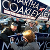 Newburyport:  Supporters of Martha Coakley greet her at Michael's Harborside in Newburyport Saturday afternoon. Jim Vaiknoras/Staff photo