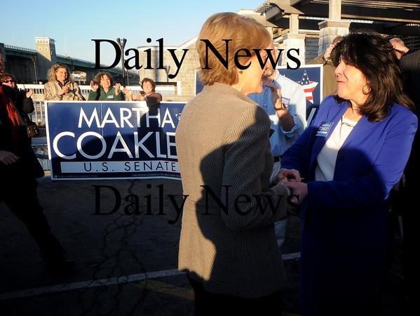 Newburyport:  Martha Coakley greet newburyport mayor Donna Holaday  at a rally at Michael's Harborside in Newburyport Saturday afternoon. Jim Vaiknoras/Staff photo