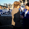 Newburyport:  Martha Coakley greet newburyport mayor Donna Holaday  at a rally at Michael's Harborside in Newburyport Saturday afternoon. Jim Vaiknoras/Staff photo