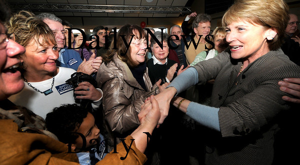 Newburyport:  Martha Coakley greet supporters at a rally at Michael's Harborside in Newburyport Saturday afternoon. Jim Vaiknoras/Staff photo