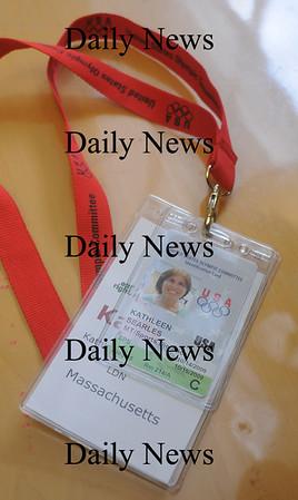 Newburyport:  Nutritionist Kathy Searles Olympic credentials at her Newburyport office. Jim Vaiknoras/Staff photo