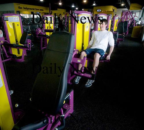 Newburyport; Chris Tyler of Newburyport workouts  at Planet Fitness in Newburyport. JIm Vaiknoras/Staff photo