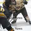 Newburyport: Clipper co-captain Kyle McElroy (3) battles with two Lynnfield defenders in front of the net during Monday afternoon's 3-0 victory over the Pioneers. Photo by Ben Laing/Staff Photo