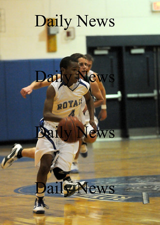 Georgetown: Georgetown's John Spears (4) leads the fast break as his Royals hosted Pentucket on Tuesday night. Photo by Ben Laing/Staff Photo