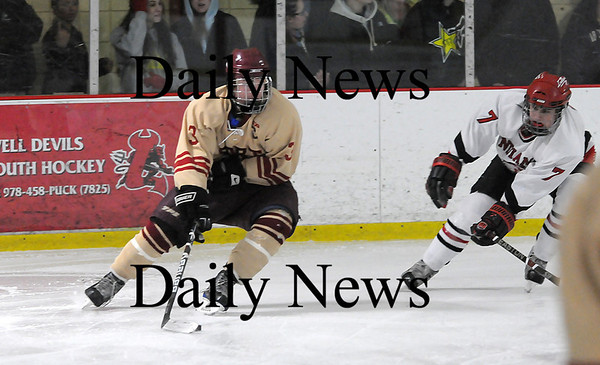 Newburyport: Newburyport's Kyle McElroy (3) looks for a shooting angle while Amesbury's Jack Vasque  (7) applies pressure during Wednesday night's 3-1 Clipper victory. Photo by Ben Laing/Staff Photo