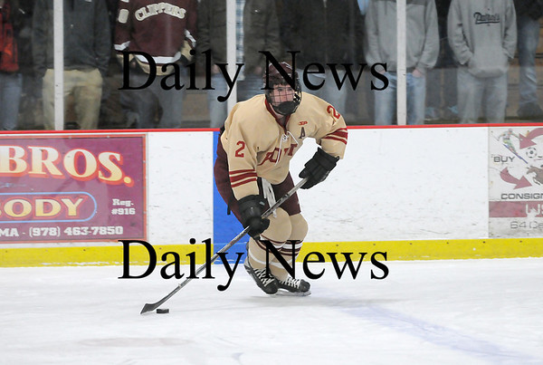 Newburyport: Billy Boudreau (2) of Newburyport looks for an open teammate during Monday afternoon's 3-0 win over Lynnfield at the Graf Rink. Photo by Ben Laing/Staff Photo