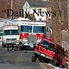 West Newbury: A car ran off the road along Chase Street in West Newbury Tuesday afternoon. Emergency crews responded to the scene but there were no injuries reported. Photo by Ben Laing/Staff Photo