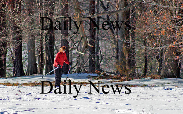 Newburyport: A woman explores Maudslay State Park on her cross country skis Tuesday afternoon, enjoying the relatively mild weather. Photo by Ben Laing/Staff Photo